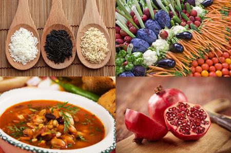 whole grain rice, fresh vegetables, hearty bean soup, pomegranate